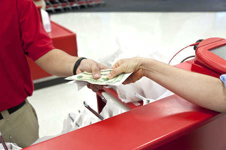 Cashier receiving cash